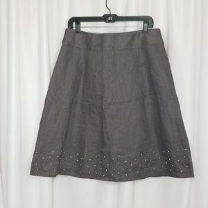 Boden gray linen a-line french dot skirt size 10L